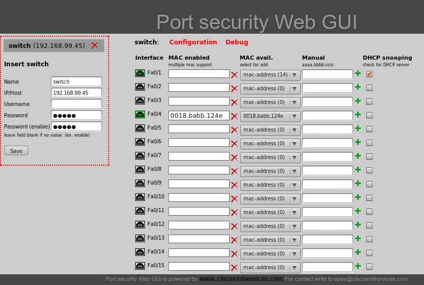 Port security web GUI dhcp snooping cisco catalyst